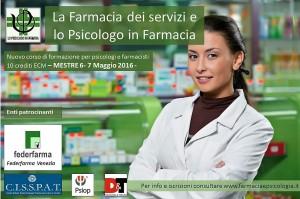 Unico Corso in Italia per lo Psicologo in Farmacia con 10 ecm con la partecipazione di Federfarma Ve